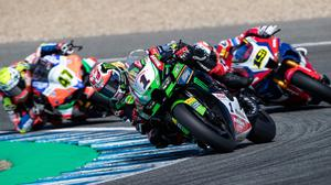Facing a battle: Jonathan Rea (1) in action at Jerez yesterday as he ended the day in arrears in title race. Credit: Lee Marshall