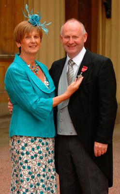 Mervyn Whyte and his wife, Hazel, at Buckingham Palace