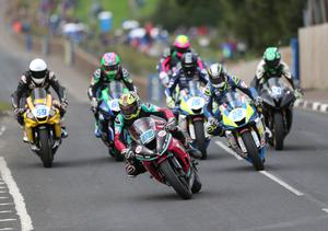 Adam McLean leads the way as he rides to victory in the Supersport race at the Cookstown 100, Ireland's only road race of 2020