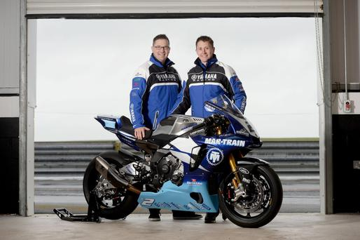 On yer bike: Team boss Tim Martin and rider Dean Harrison unveil the new 2015 Mar-Train Yamaha R1 at Kirkistown as the squad completed their testing programme