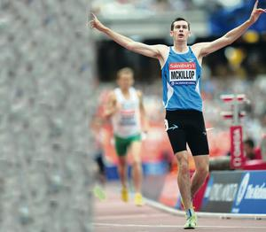 Leading man: Michael McKillop after winning the 800m at the Paralympic Anniversary Games at London's Olympic Stadium