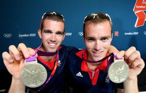 Richard and Peter Chambers with their silver medals from the 2012 Games