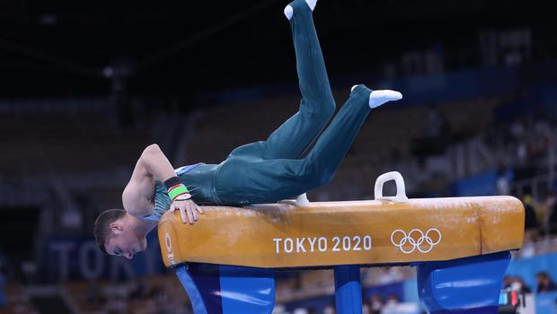 The moment Rhys McClenaghan's medal hopes ended with his mistake in the Men's Pommel Horse final. Credit: Sergei Bobylev/Getty