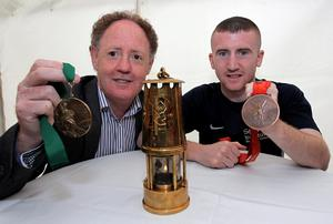 Hugh Russell (left) and Paddy Barnes with their Olympic medals