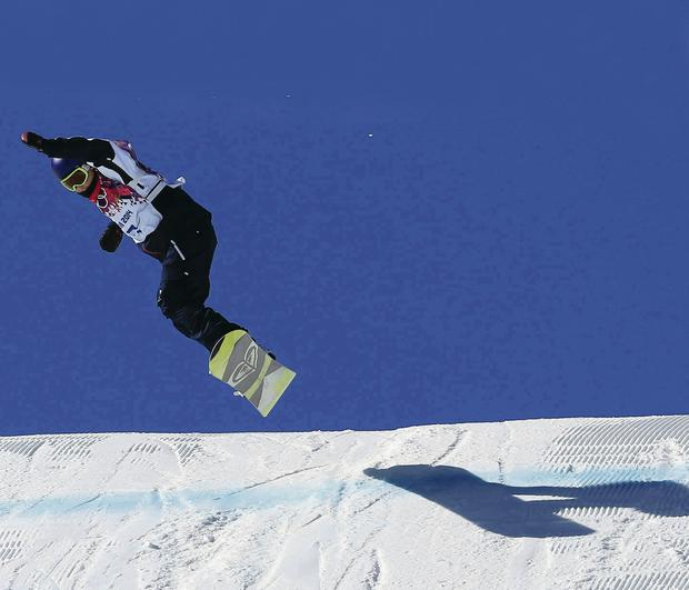 Sky's the limit: Bangor's Aimee Fuller in action in the slopestyle at Rosa Khutor Extreme Park in Sochi