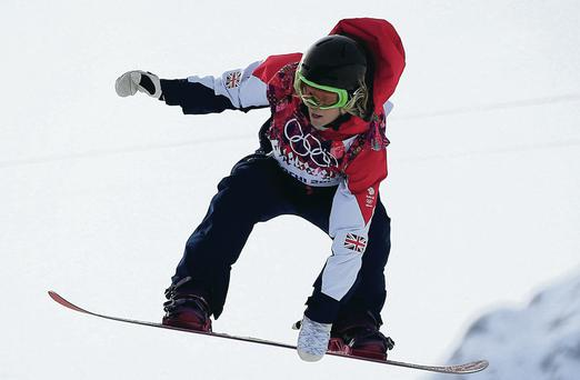 Class act: Jenny Jones on way to taking bronze in Sochi yesterday
