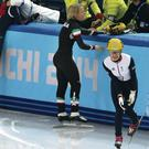 Final agony: Great Britain's Elise Christie reacts after disqualification in the Ladies 500m short track final