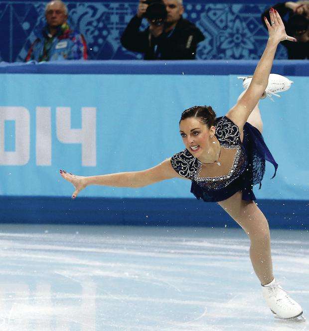 Oh so close: Jenna McCorkell agonisingly misses out on advancing to the free skate yesterday in Sochi