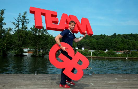 Spelling it out: Ulster rower Alan Campbell at the Team GB Olympic Games announcement at Henley-on-Thames yesterday