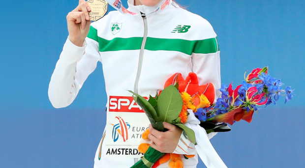 Medal of honour: Ciara Mageean shows off her European Championship bronze in Amsterdam