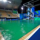 Off colour: the green pool at the Maria Lenk Aquatics Centre in Rio