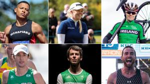 There are six Olympians from Northern Ireland still to compete at the Olympics. Clockwise from top left: Leon Reid, Stephanie Meadow, Mark Downey, Stephen Scullion, Paul Pollock and Kevin Seaward.
