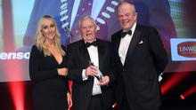 Smash hit: Picking up the Paddy Patterson Services to Sport Award was George Stevenson MBE. It was presented by Richard Johnston (Chair of NI Sports Forum) and Sarah Shimmons, Head of Marketing from sponsor Linwoods Health