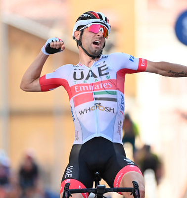 Italy's Diego Ulissi celebrates winning the second stage of the Giro d'Italia
