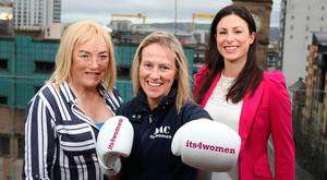 Dream team: (from left) promoter Kellie Maloney alongside Belfast boxer Cathy McAleer, with Kerry Beckett from sponsors its4women