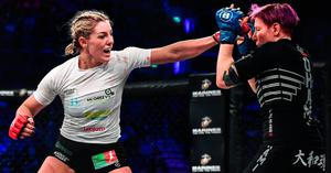 Leah McCourt on her way to victory over Judith Ruis in their women's featherweight bout at Bellator Dublin