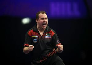 I've done it: Kim Huybrechts after beating Mickey Mansell