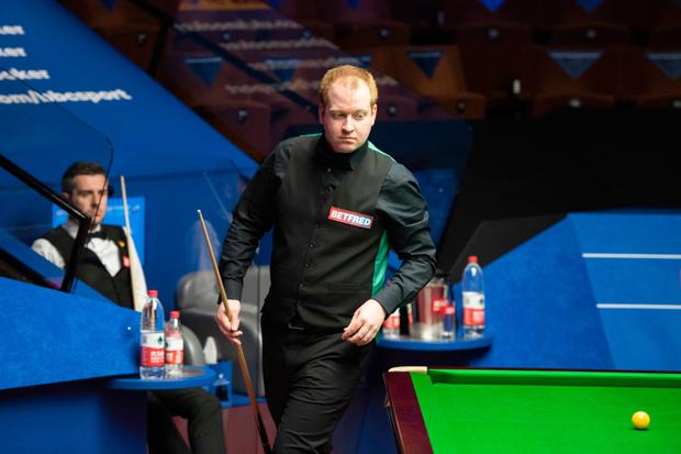 Jordan Brown up against Mark Selby at the World Championships at the Crucible in Sheffield