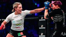 In reach: Leah McCourt on her way to victory over Judith Ruis in their women's featherweight bout at Bellator, Dublin on Saturday night