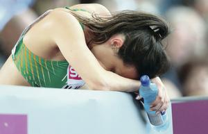 Good effort: Christine McMahon after missing out in the 400m hurdles semi-finals in Zurich yesterday