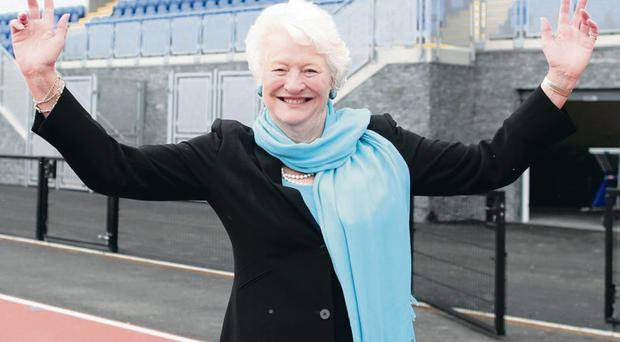 Mary Peters shows off the new facilities after £3m a City Council redevelopment of her track at Upper Malone in Belfast