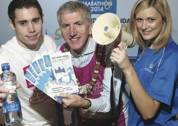 Looking forward to the Belfast Marathon are Paralympics gold medallist Jason Smyth, Belfast Lord Mayor Máirtin Ó Muilleoir and Catriona Rafferty of Deep RiverRock