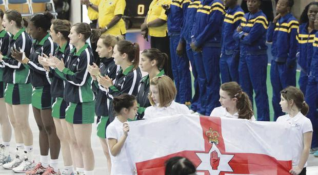 The Northern Ireland team line up at the opening ceremony last night