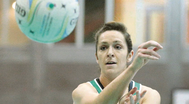 Northern Ireland's Caroline O'Hanlon makes a pass during the crushing victory over St Lucia