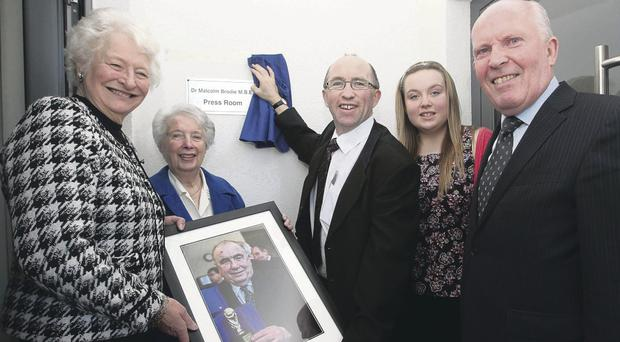 Dedicating Malcolm Brodie press room at Mary Peters Track (from left) Dame Mary Peters, wife Margaret Brodie, son Stephen Brodie, granddaughter Claire Brodie and Alderman Jim Rodgers