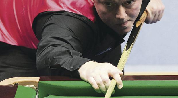 Mark Allen fires his way to victory over Judd Trump in York yesterday