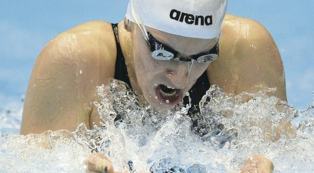 Bethany Carson competing in the 200m individual medley heats yesterday in Henning, Denmark