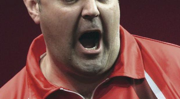 Winning feeling: Wes Newton on the way to victory yesterday