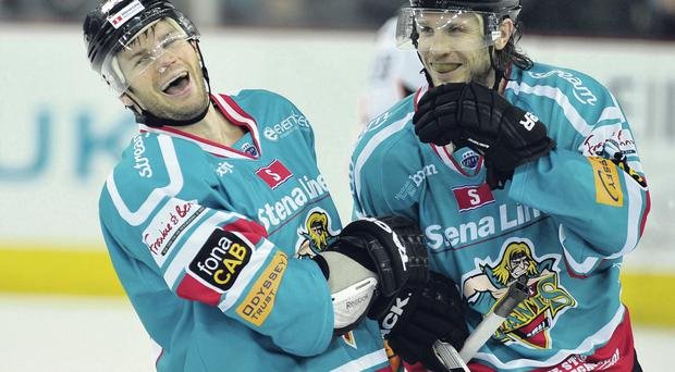 Main: Giants skipper Adam Keefe (left) is seeking to add the Challenge Cup and Play-off championship to league glory