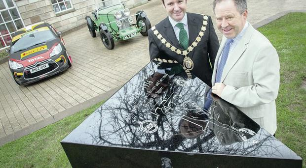 Track record: Ards mayor, Councillor Stephen McIlveen and Circuit of Ireland director Bobby Willis at the Conway Square plinth which commemorates the TT races of the 1930s