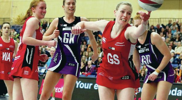 One the got away: The ball just eludes Northumbria's NI star Noleen Lennon in the defeat by Hertfordshire Mavericks