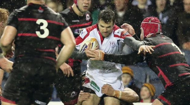 Ulster's Jared Payne tries to break through the Edinburgh defence during last night's game at Murrayfield