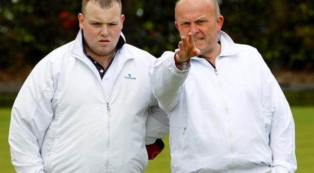 Presseye Northern Ireland - 11th May 2013 Mandatory Credit - Photo-William Cherry/Presseye Terry Crawford and Ronnie Horner from Belmont pictured during Saturdays Private Greens Bowling league game at Stormont.