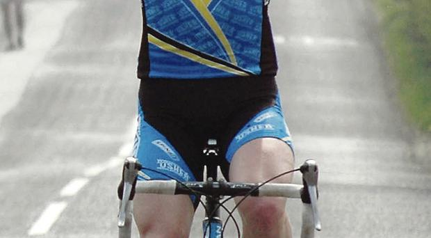 Local hope: Belfast's Peter Hawkins rides in Tour of the North