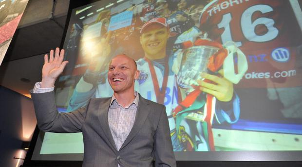 Steve Thornton waves to the crowd as he was announced as the new coach of the Belfast Giants. Pic Michael Cooper