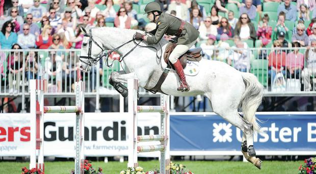 Aiming high: Cpt Brian Curran Cournane rides Starboard during the Rydale Clothing International Spectacular
