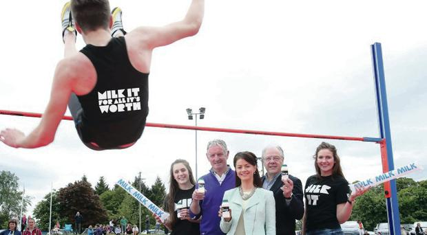 New heights: (from left) Melissa Moffett, USSAA Chairman Stephen Graham, sports nutritionist Stephanie Ingram, Dairy Council Chief Executive Mike Johnston and Lauren McCullough at Antrim Forum