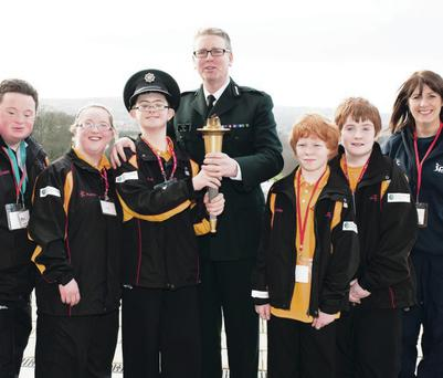 Big launch: Special Olympic Ulster athletes with PSNI Assistant Chief Constable Will Kerr and Sport NI's Antoinette McKeown