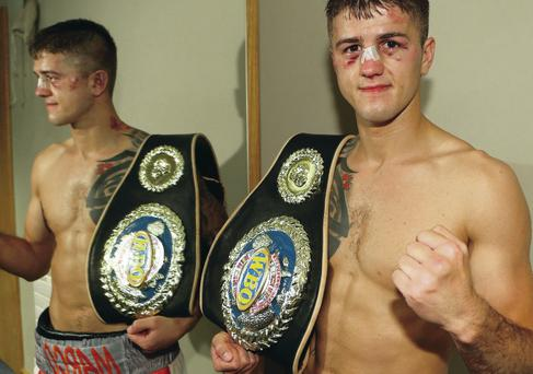 Belted: Marc McCullough shows the scars of battle with his belt