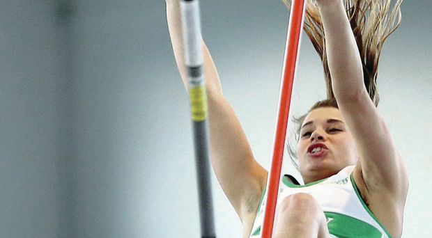 Flying high: Ulster's Zoe Brown vaulting a superb 4.40m at the Irish Championships at AIT International Arena in Athlone