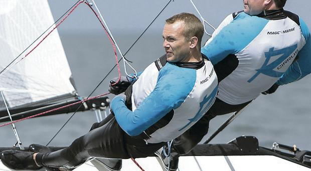 Plain sailing: Adrian Allen and Richard Swanson compete at the F18 World Championships yesterday