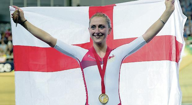 More gold: Double Olympian Laura Trott after winning in Glasgow