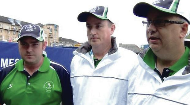 In the final today: Northern Ireland bowlers Neil Mulholland, Paul Daly and Neil Booth