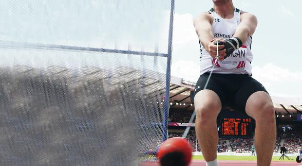Hammer time: Dempsey McGuigan felt he could relax in yesterday's final after throwing his fourth best distance of 66.16 metres in the heats on Monday