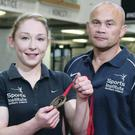 Homecoming: bronze medallist Lisa Kearney and coach Ciaran Ward at NI Sports Institute yesterday