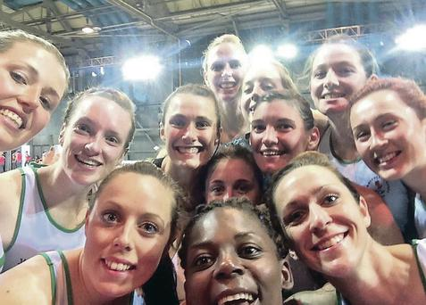 Selfie stars: Northern Ireland's netball team take a picture to remember the moment they sealed seventh place at the Games